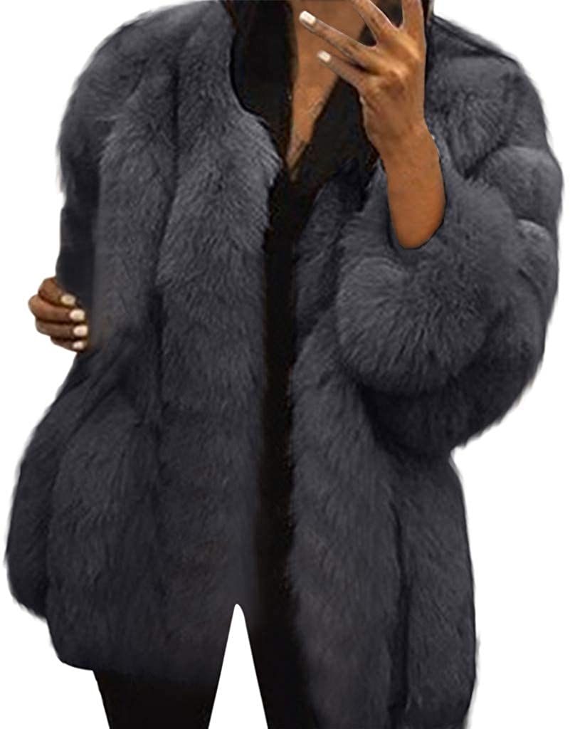 StyleV Women Plus Size Short Faux Coat,Luxury Warm Furry Jacket Long Sleeve Outerwear Faux Fur Coat Cardigans for Ladies