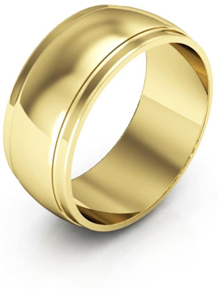 10K Yellow Gold mens and womens plain wedding bands 8mm half round edge