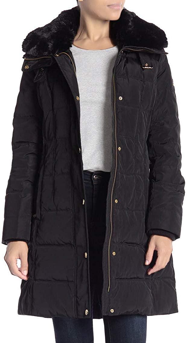 Michael Michael Kors Missy Button Faux Fur Collared Jacket - Black