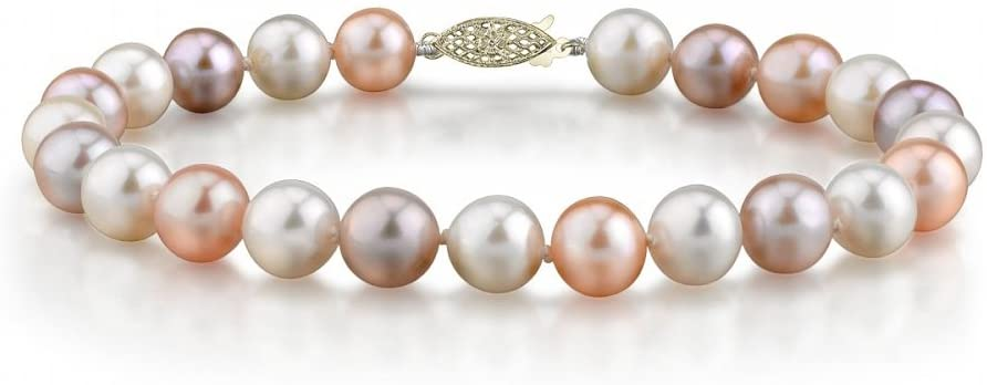 THE PEARL SOURCE 14K Gold 7-8mm AAAA Quality Round Multicolor Freshwater Cultured Pearl Bracelet for Women