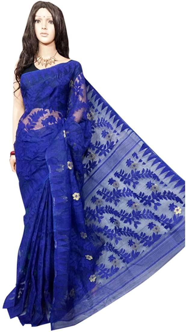 Blue Wedding Dhakai Jamdani Handloom Silk Saree Ethnic Indian Beautiful Self Work Traditional Sari Bengal Weavers 105