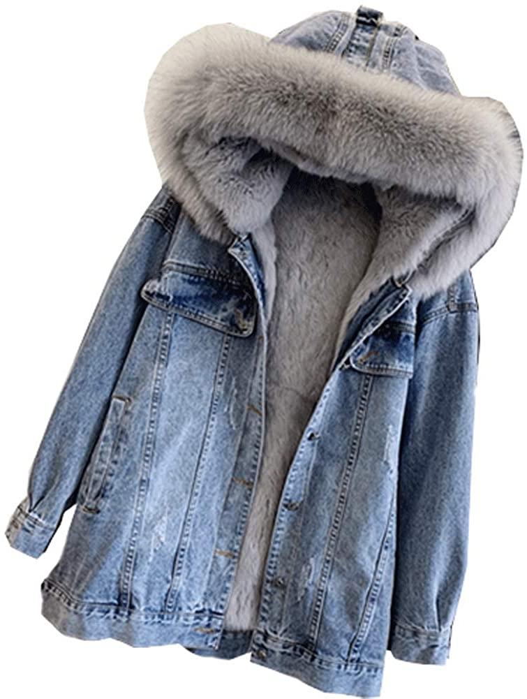 CG Women Winter Denim Denim Jean Jacket Coat Faux Fur Hood Parka Outwear with Pocket L9