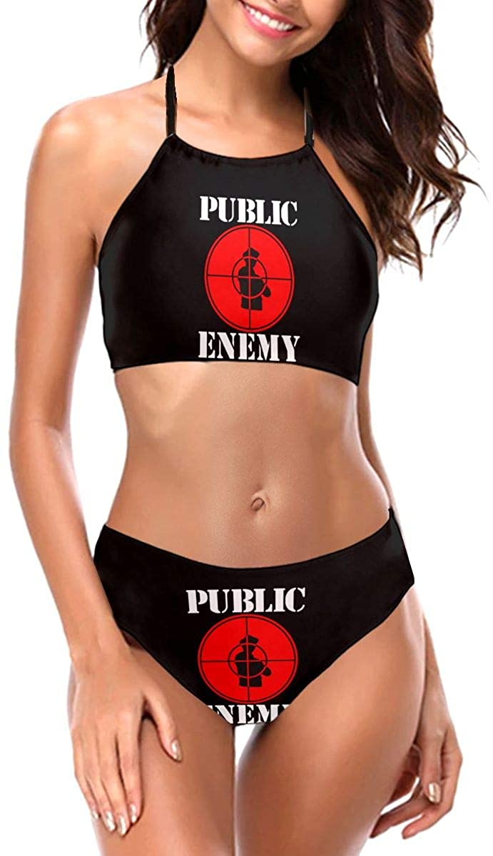 Pu-Blic En-Emy Logo Sexy Women's Swimwear Swim Trunks Thickened Straps Bandage Bikini Swimsuit