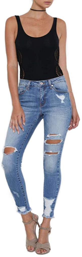 7 Encounter Kancan Women's Distressed Cropped Ankle Skinny Denim Jeans KC5056M