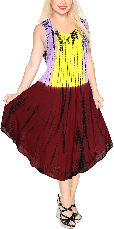 LA LEELA Women's Midi Summer Casual Loose Dress Beach Cover Up Hand Tie Dye B