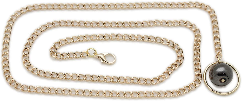 TFJ Women Gold Metal Chain Links Skinny Waistband Fashion Belt High Waist Hip Pewter Ball Charm
