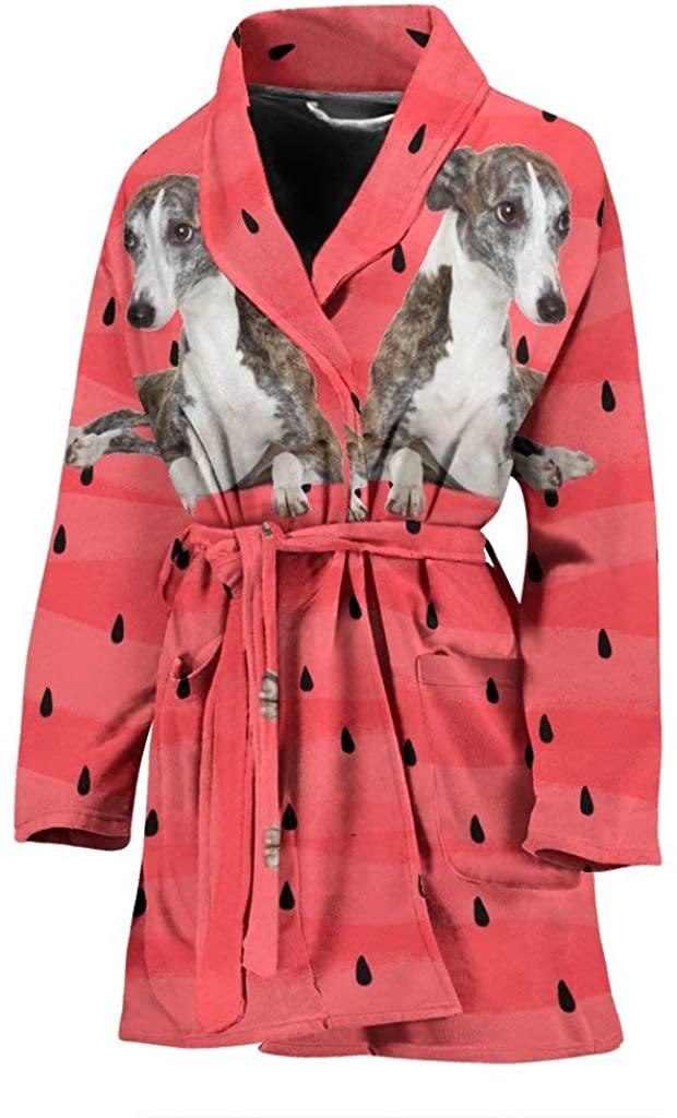 Pawlion Whippet Dog Print Women's Bath Robe
