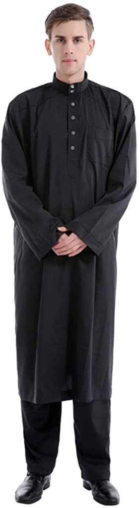 Yuege Dress Men's Thobe Robes with Long Sleeves Arab Islamic Muslim Wear Calf Length with Pants