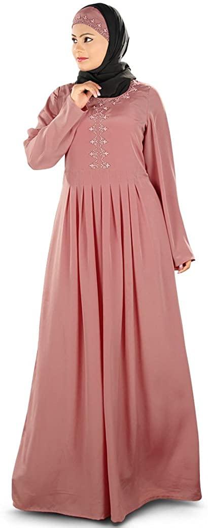 MyBatua Womens Simple & Classy Rayya Abaya Color in Dusty Rose