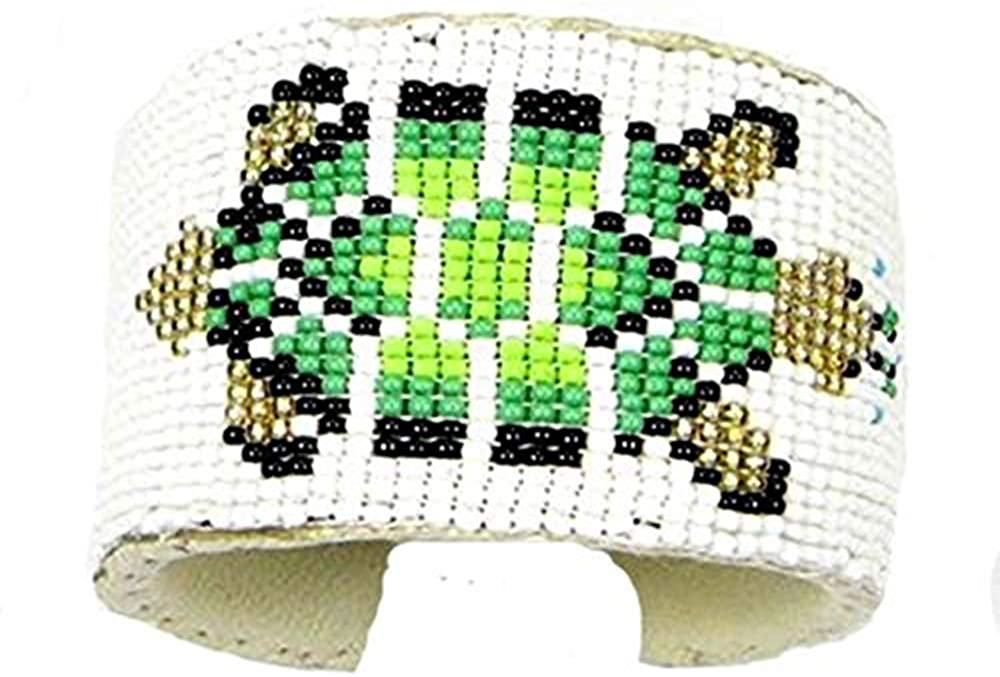 HANDMADE BEADED INDIAN JEWELRY GREEN GOLDEN WHITE BEADED TURTLE BEAD WORK BRACELET LEATHER UNISEX FREE SIZE 34/3