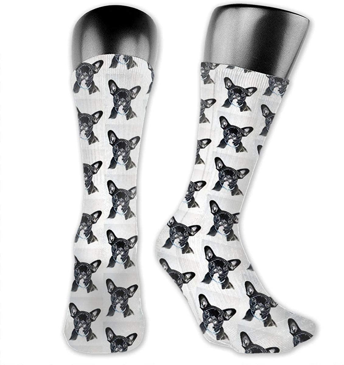 Unisex Crazy Funny Cool 3D Print French Bulldog Socks Colorful Athletic Travel Socks Novelty Casual Crew Socks