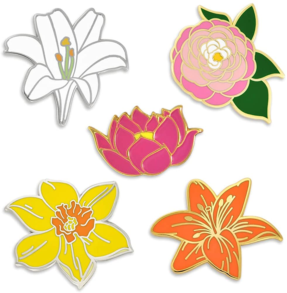 PinMart Flower Enamel Lapel Pin Set -Peony Lotus Lily Daffodil