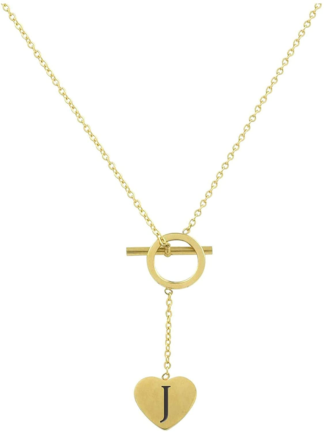 Pink Box Heart Lariat Initial Necklace J - Gold