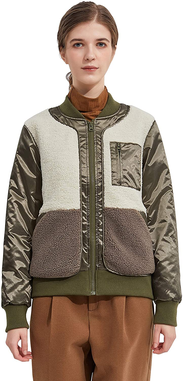 Orolay Women's Fleece Down Bomber Jacket Winter Coat Cropped Puffer Jacket