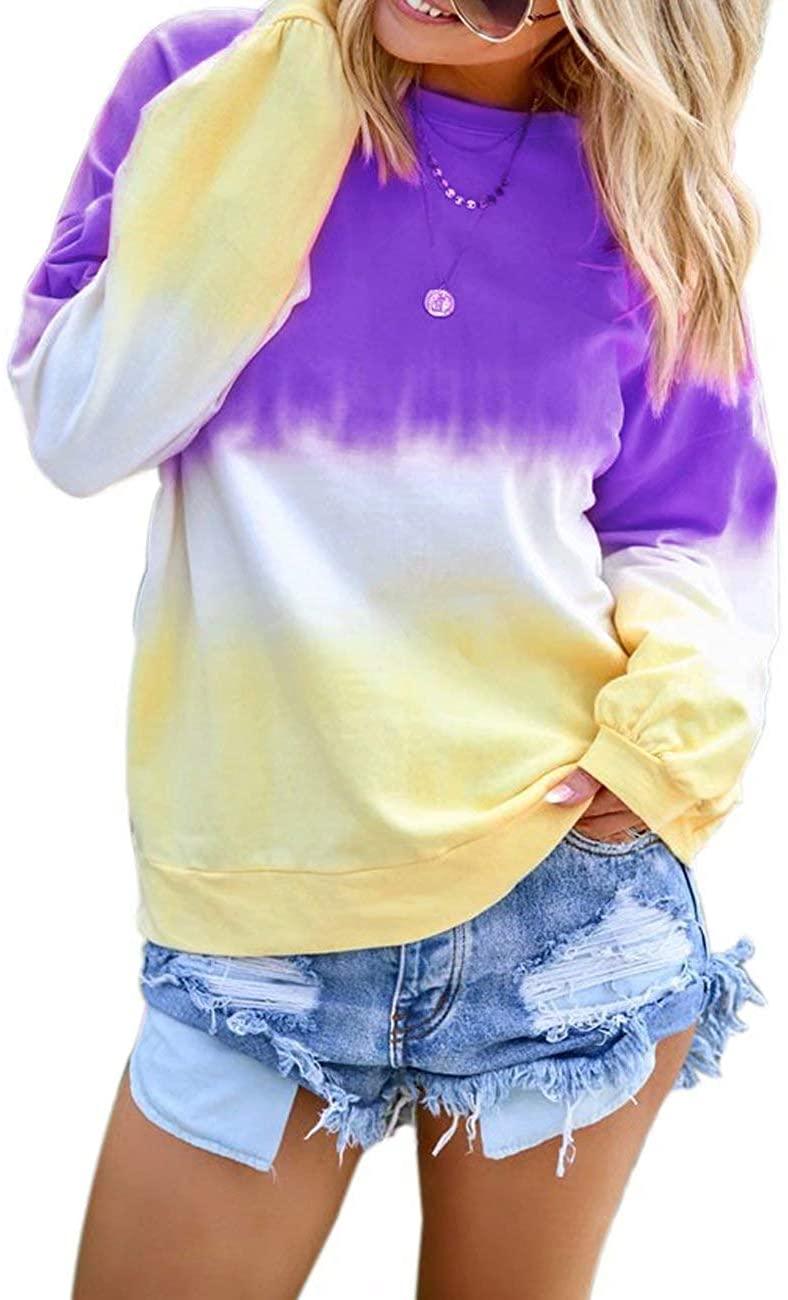 Womens Long Sleeve T Shirt Color Block Shirts Blouses Crew Neck Casual Tops Tie Dye Sweatshirt for Women