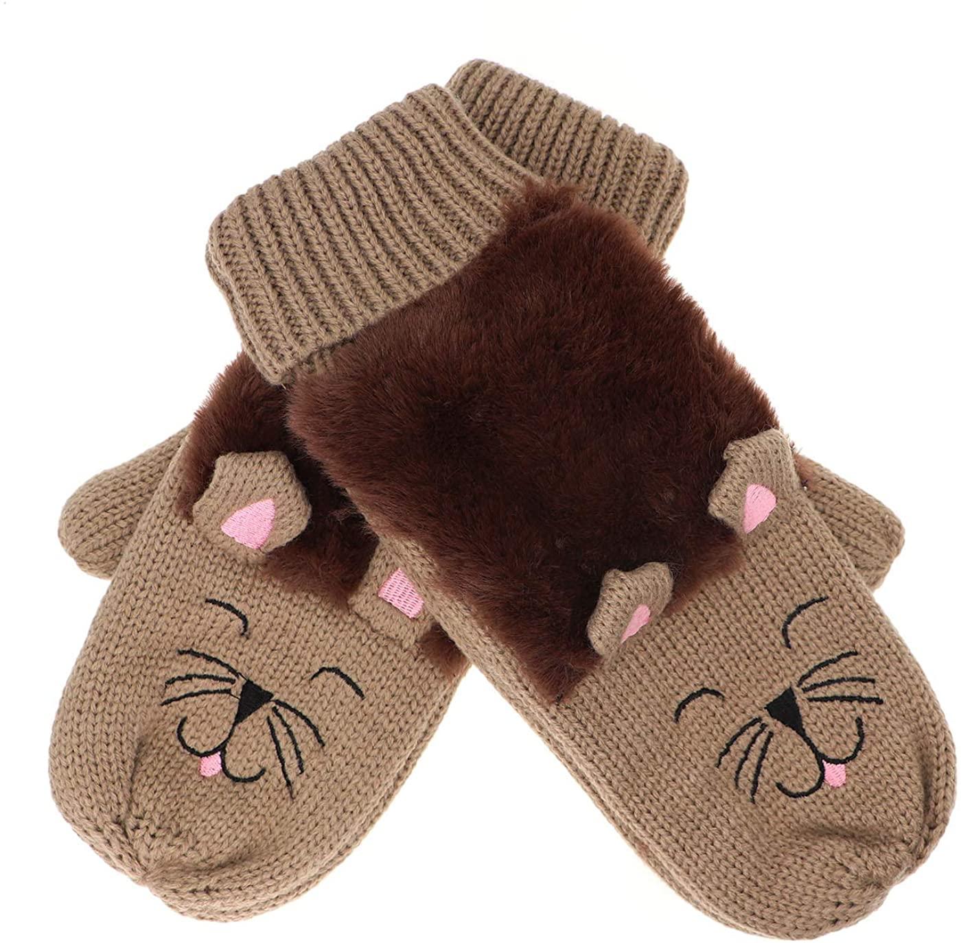 Women Double Layer Winter Warm Knit Mittens Faux Fur Fuzzy Warm Soft Lining Cartoon Kitten Cat Gloves