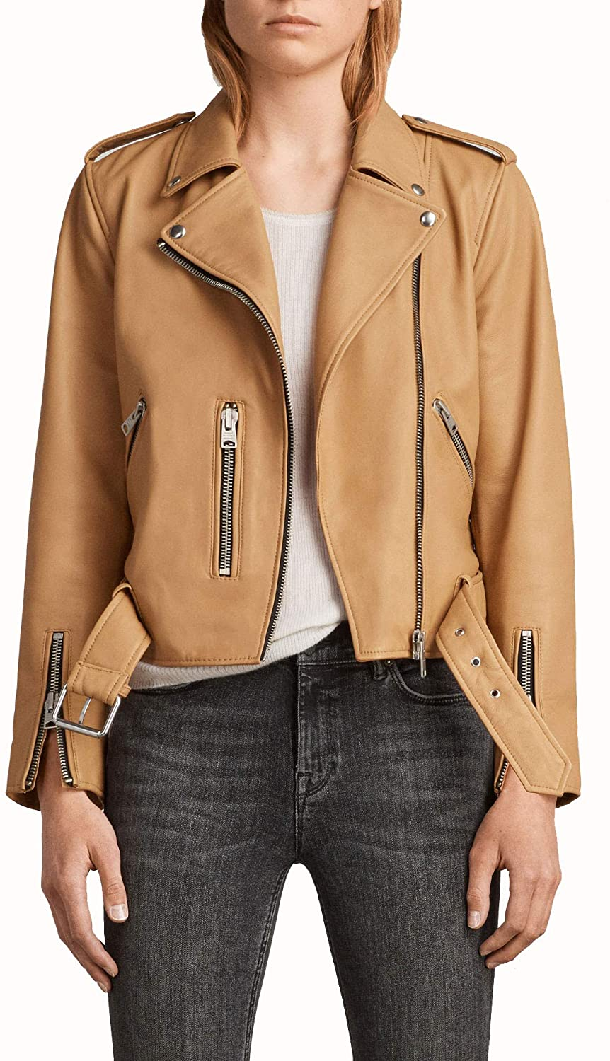 Genuine Pure Quality Brown Colour Women Leather Jacket for Party