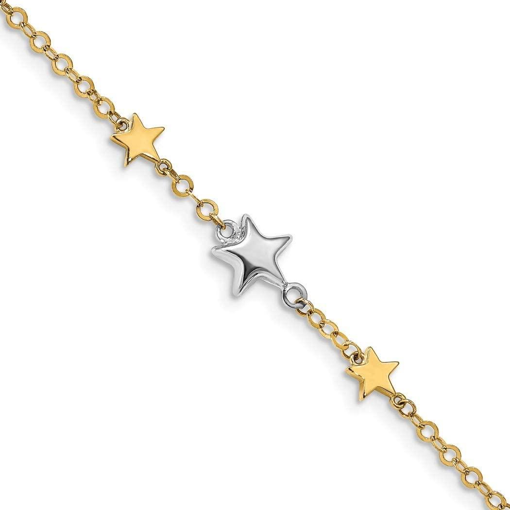 14k Two tone Gold Stars Bracelet 7.25 Inch Jewelry Gifts for Women