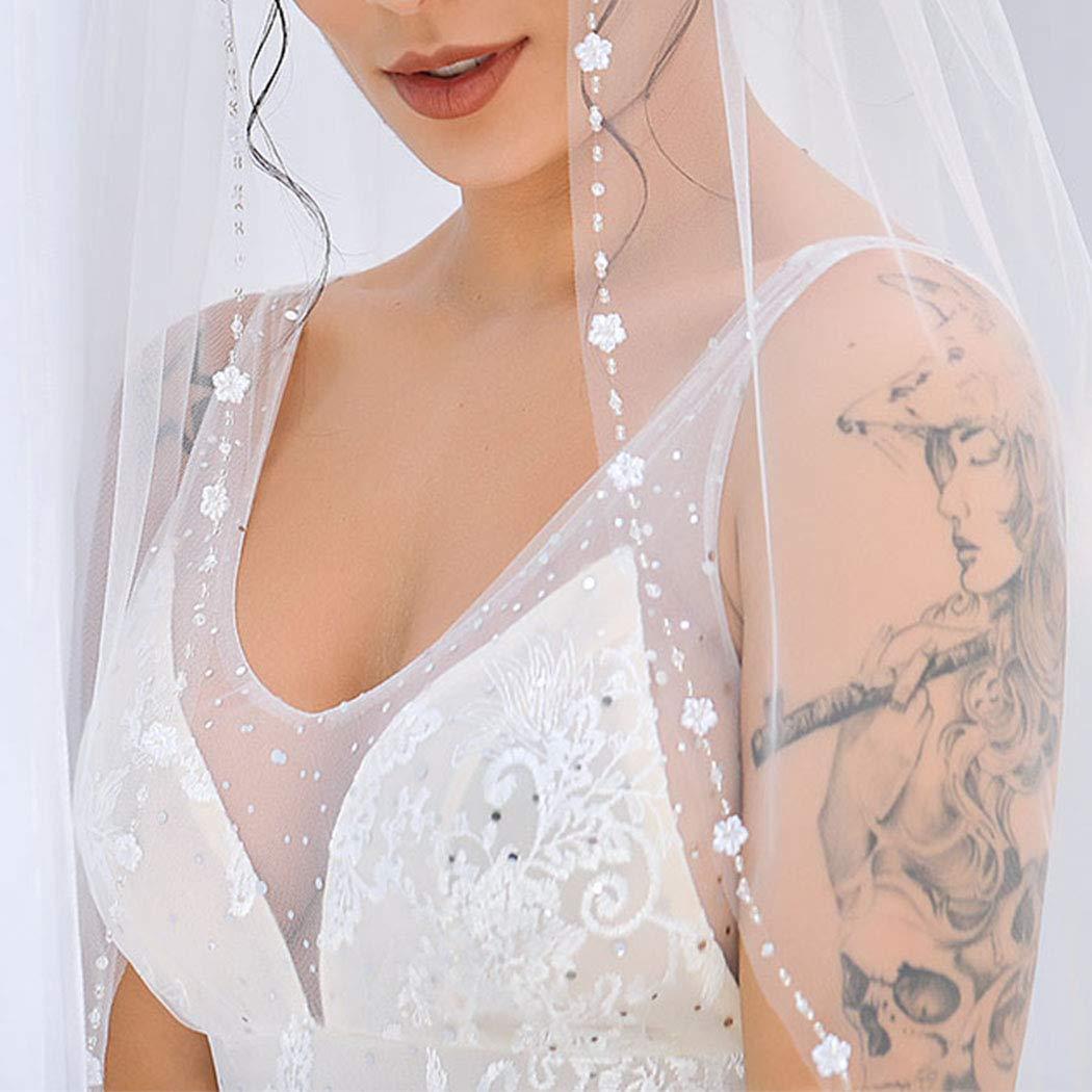 Aukmla Beaded Edge Wedding Veil Fingertip Tiny White Flower Edge Veil Bridal Veil with Metal Comb Hand Made