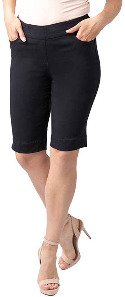 Vincente Womens Wide Band Pull-on Solid Walking Short