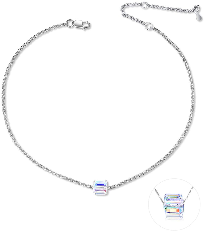 AOBOCO Sterling Silver Anklets with Swarovski Crystal, Adjustable Ankle Bracelet for Women