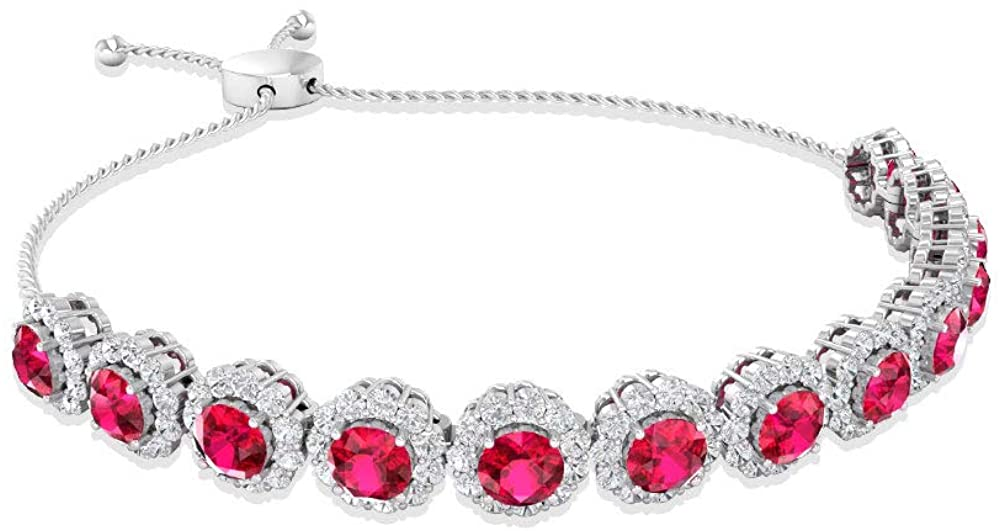 6.56 CT Round Certified Ruby Glass Filled Moissanite Halo Bolo Bracelet, 14k Gold Chain Adjustable Women Birthday Bracelets, Stackable Charm Bracelets