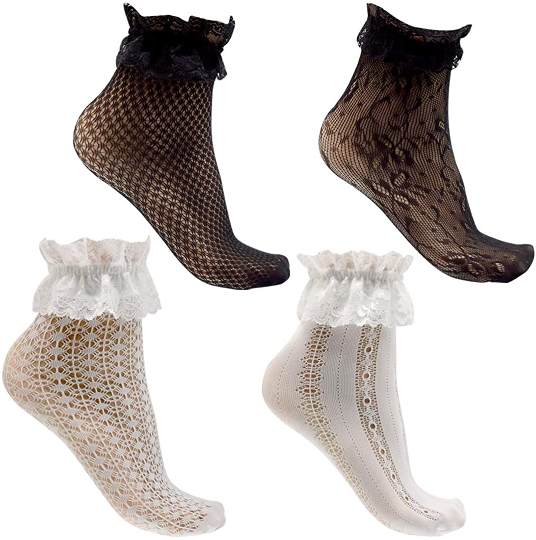 Women's Lace Anklet Sock with Ruffle, Lace Sheer Patterned Socks Black White 4 Pairs Set