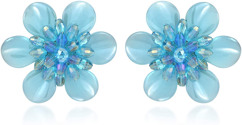 Shimmering Light Blue Metallic and Crystal Bead Flower Clip-On Earrings