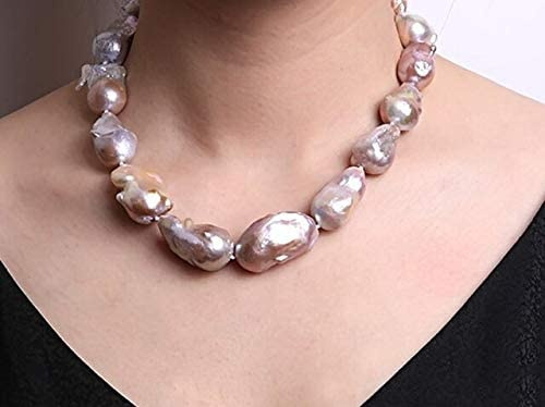 Davitu Necklaces - Baroque Pearl Necklace Freshwater Cultured Party Wedding Jewelry for Women Gift AAA Lanvender - (Gem Color: Purple, Length: 45cm)
