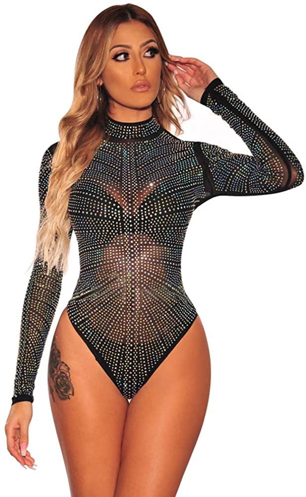 METERDE Women's Long Sleeves Night Club Shimmering Bodysuit