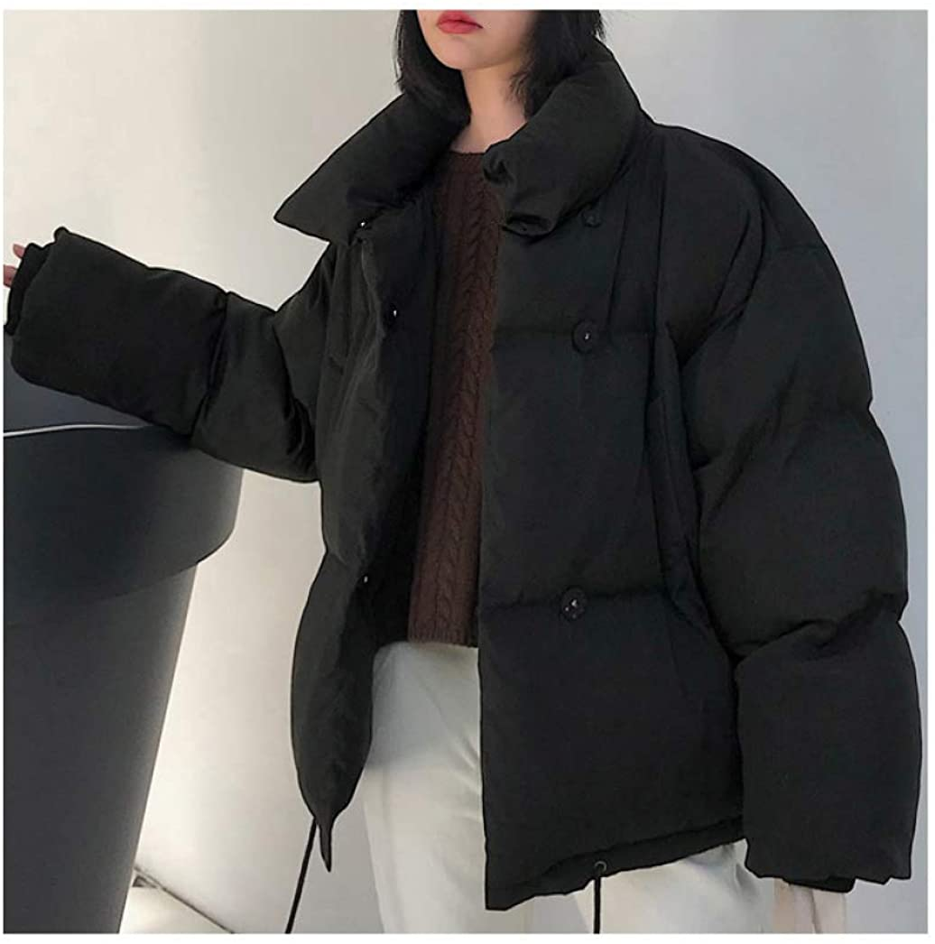 HiiWorld Korean Style Winter Jacket Women Stand Collar Solid Female Down Coat Loose Oversized Womens Short Parka