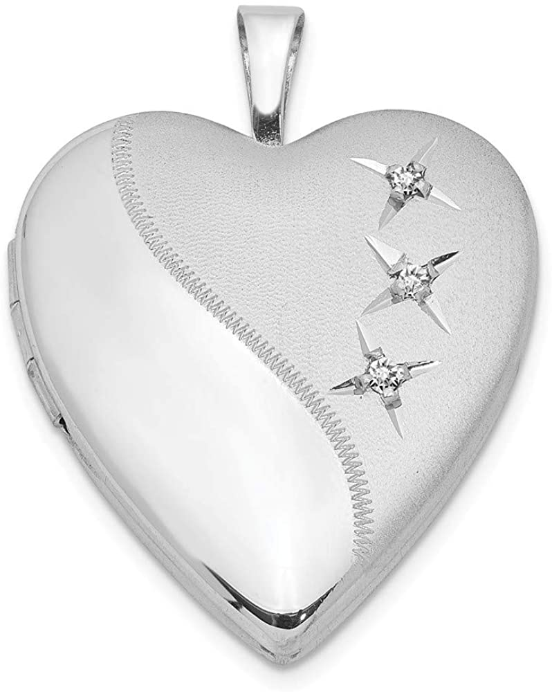 Beautiful Sterling silver 925 sterling Sterling Silver Rhodium-plated 20mm D/C Heart Locket