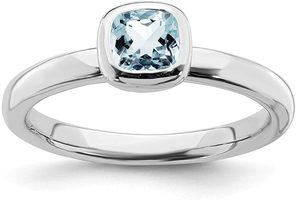 FB Jewels Solid Sterling Silver Stackable Expressions Cushion Cut Aquamarine Ring