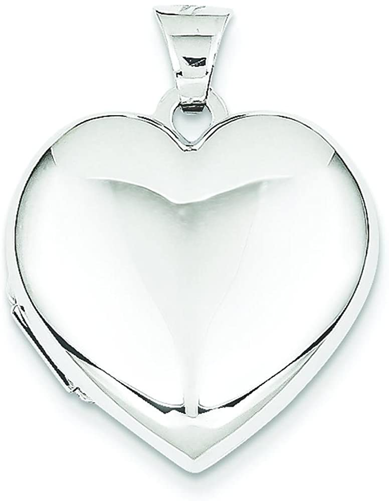 14K White Gold Domed Heart Locket Love Jewelry New