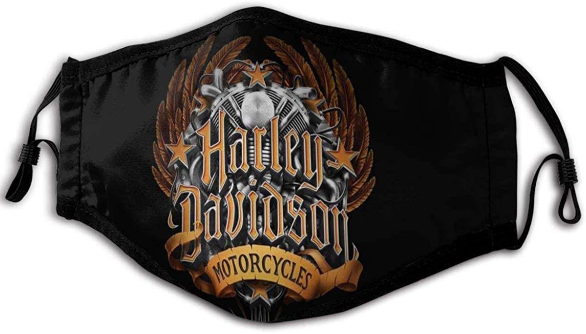 Comfortable And Adjustable Harley Davidson Black Printed Male And Female Face Decoration