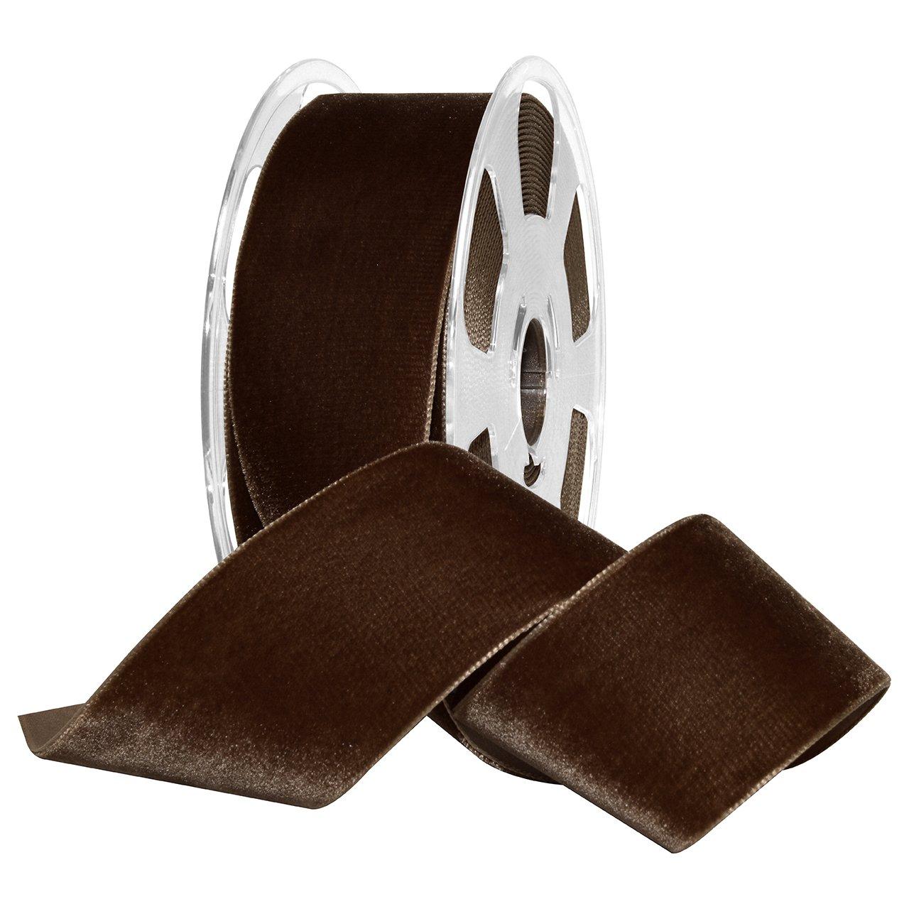 Morex Ribbon, Nylon, 2 inches by 11 Yards, Café, Item 01250/10-636 Nylvalour Velvet Ribbon, 2