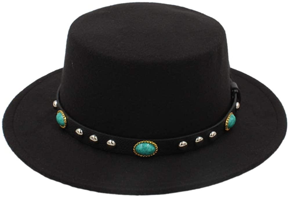 YWHY Vintage Winter Wool Felt Fedora Hats Round Top Godfather Fashion Pork Pie Hat