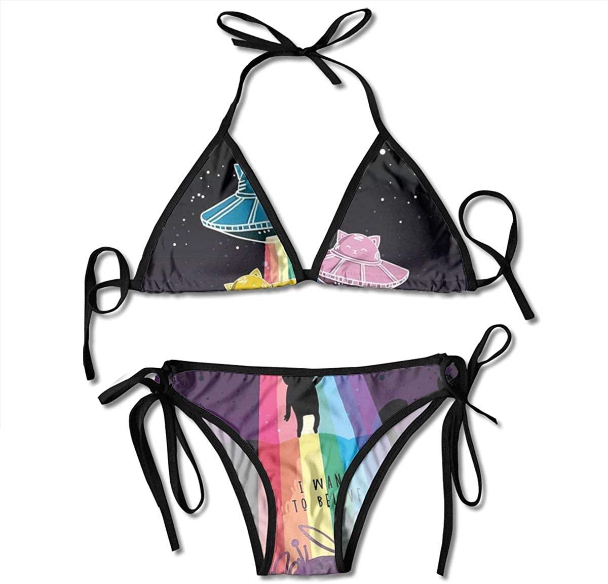 Women's String Triangle Bikini Set Two Piece Cartoon UFO Swimsuit Black