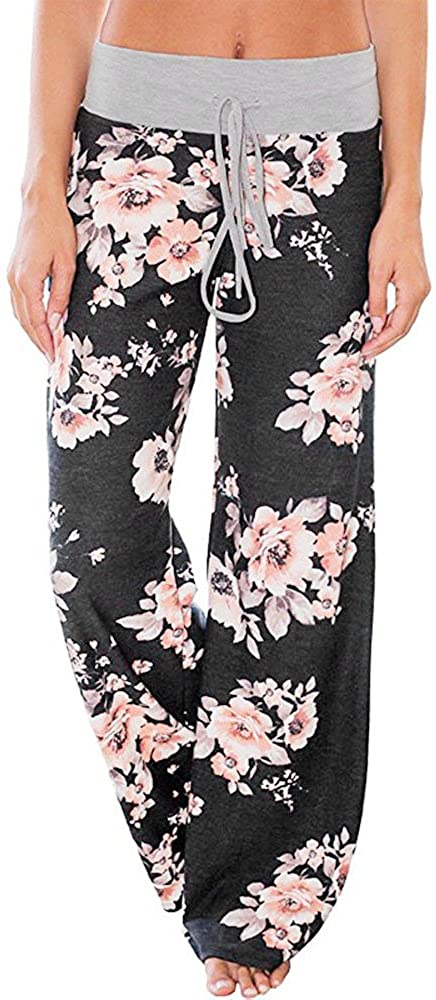 iCJJL Women's Comfy Casual Pajama Pants, Floral Print Drawstring Palazzo Lounge Pants Wide Leg PJ Pants