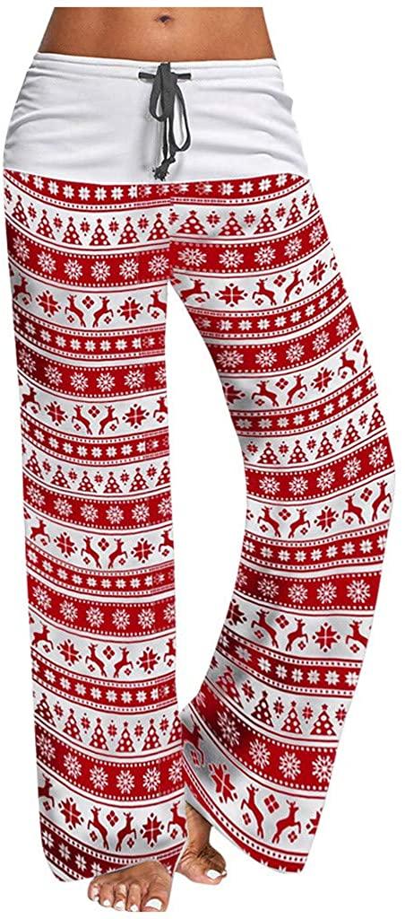 Highpot Women Christmas Prints Comfy Stretch Drawstring Long Wide Leg Lounge Pants Leggings