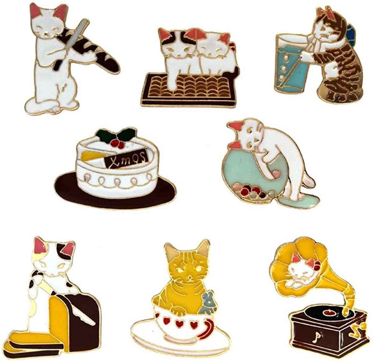 WINZIK Cartoon Lapel Brooch Set 8Pcs Novelty Cute Cat Kitten Pins Badges For Women Children Clothing Backpacks Decor