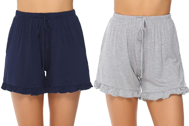 Aibrou Women's Pajama Shorts Cotton Striped Sleep Shorts Short Pajama Bottoms for Summer