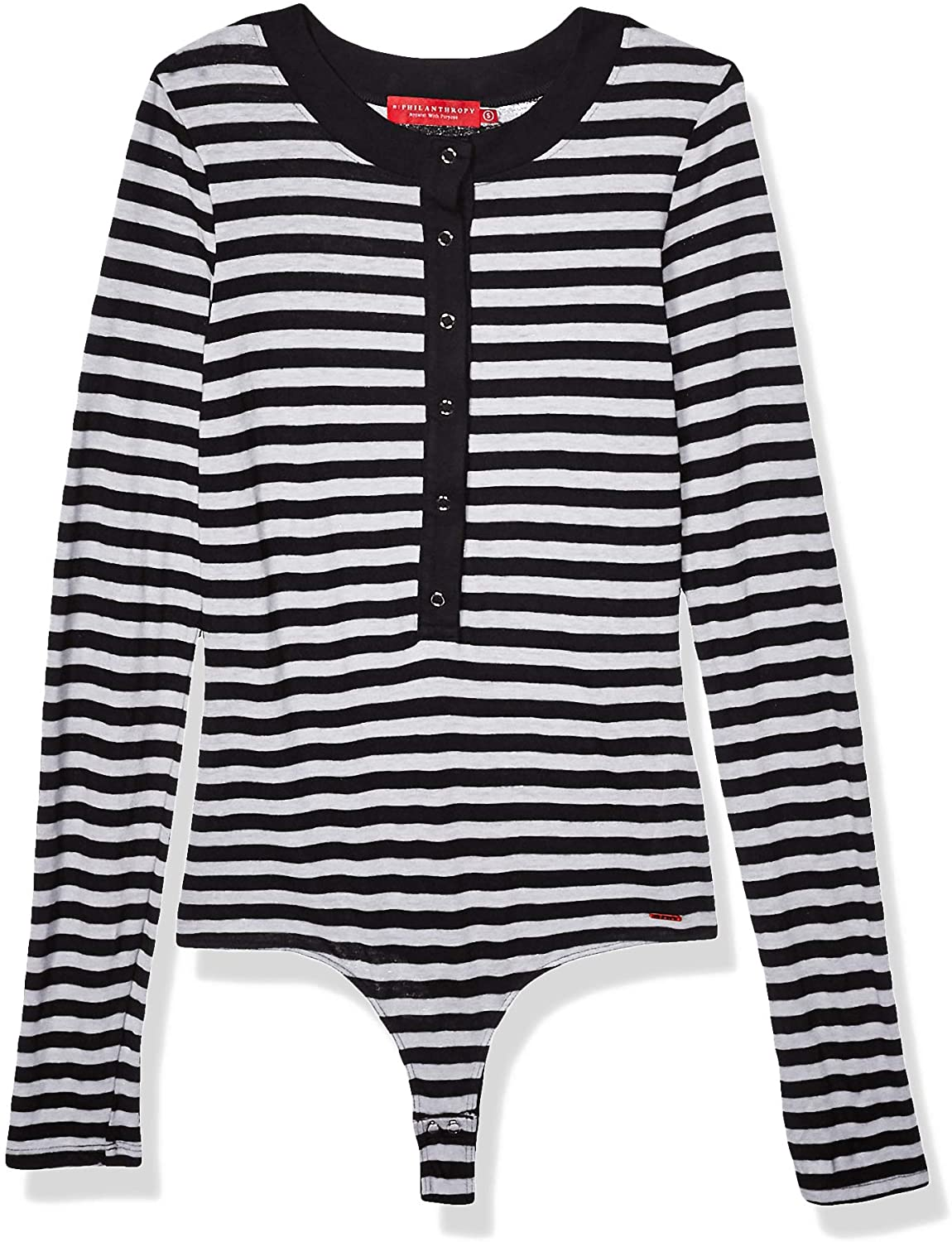 n:PHILANTHROPY Women's Casual Bodysuit, Black White Monty, Extra Small