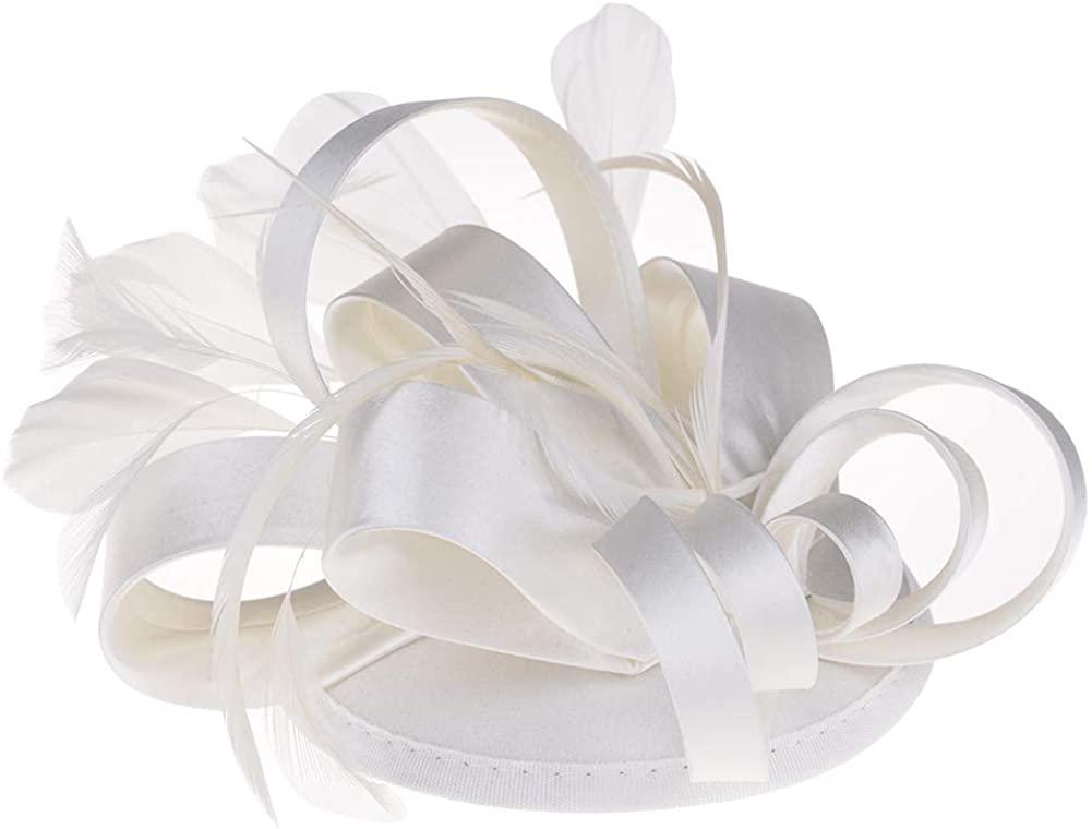 ChezAbbey Women's Feather Flower Derby Hat Fascinator Hair Clip Wedding Party