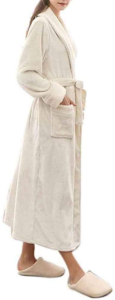 Premium Long Bathrobe for Womens Flannel Fleece Robes Sleepwear Pajamas Winter Warm Housecoat Nightgown