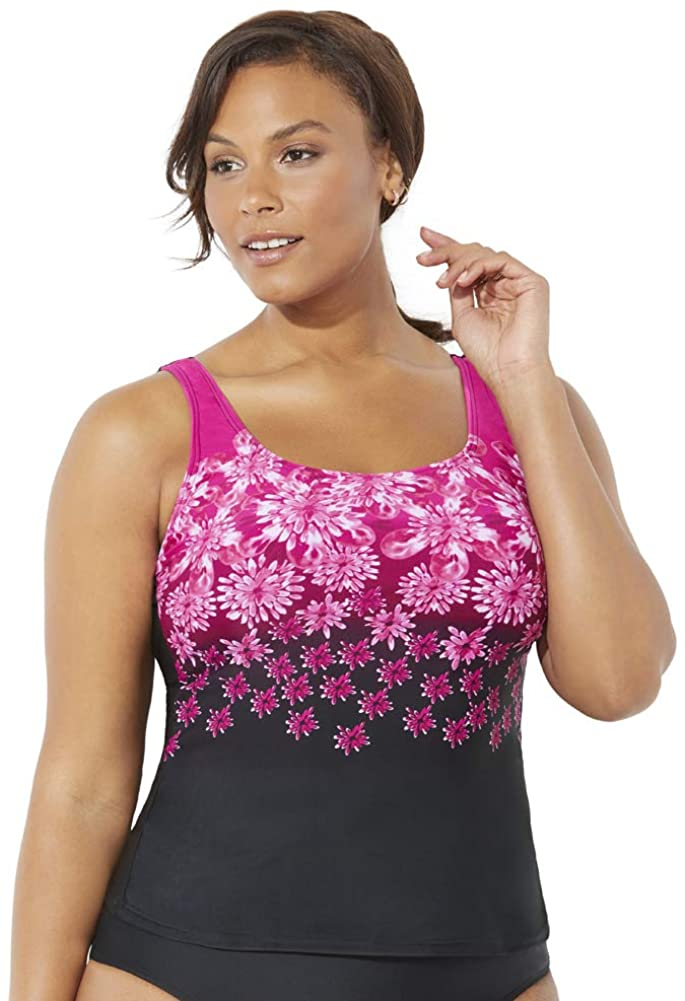 Swimsuits for All Women's Plus Size Chlorine Resistant Floral Tankini Top