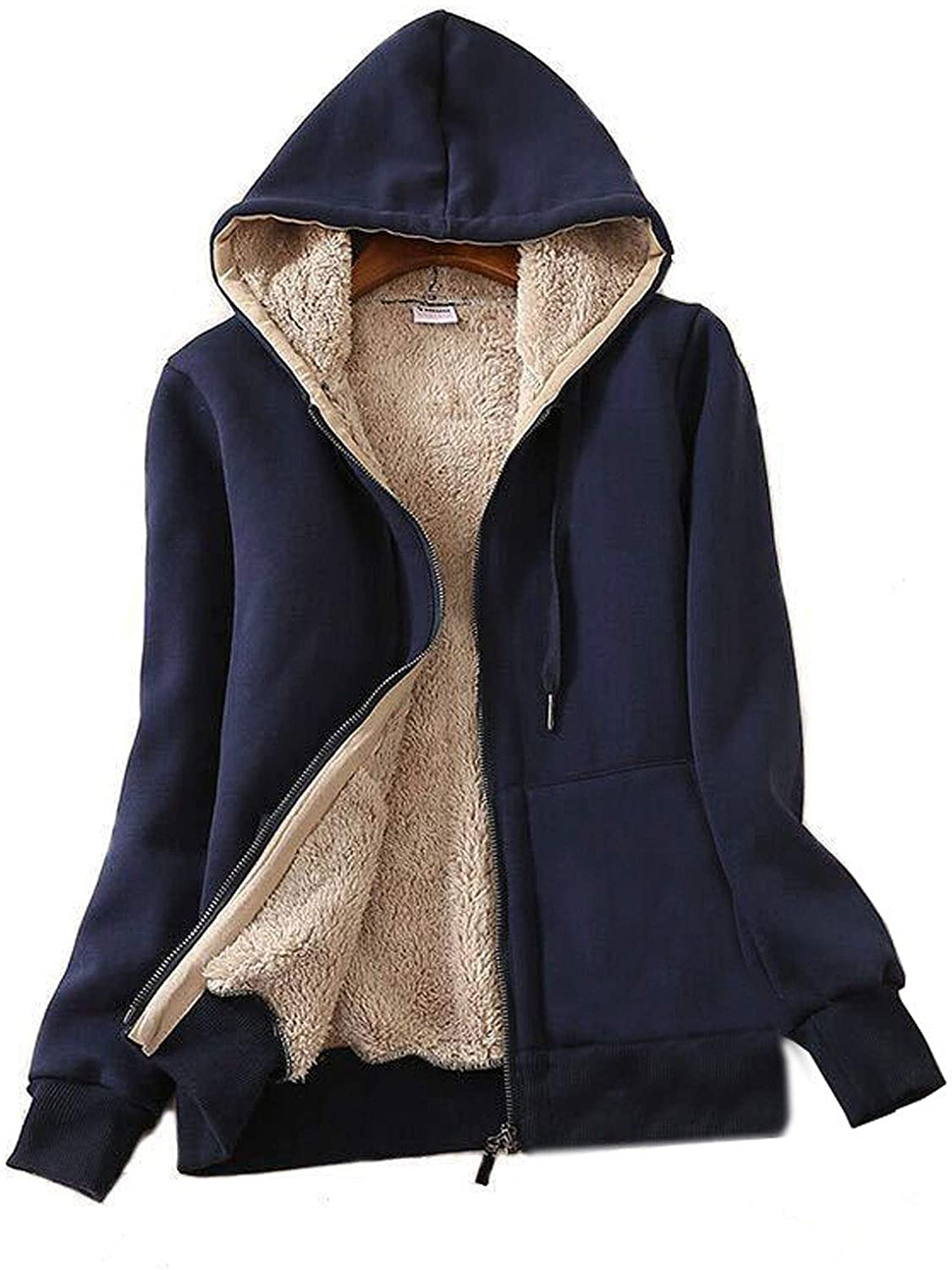 Flygo Women's Casual Winter Warm Thick Sherpa Fleece Lined Zip Up Hooded Sweatshirt Jacket