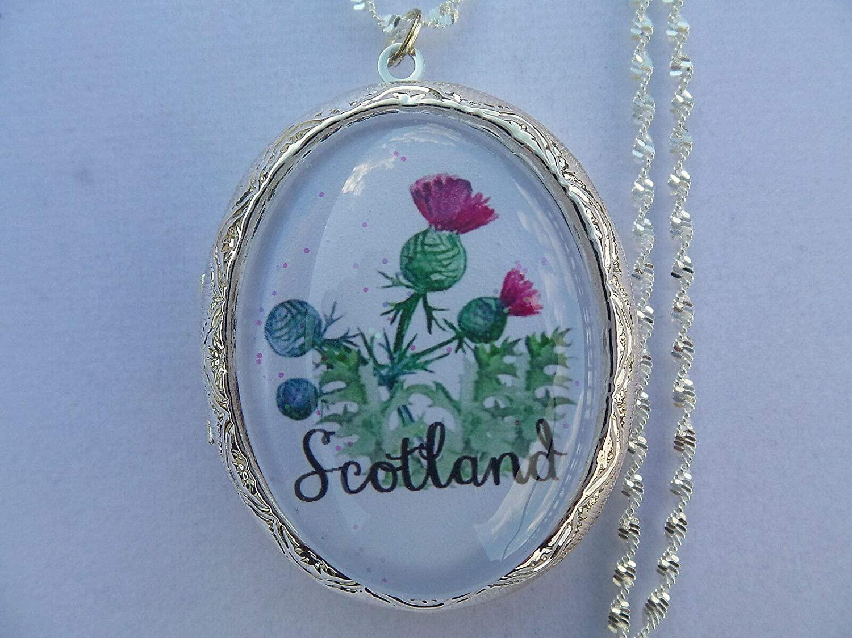 Scotland Scottish Thistle Locket 26'' Chain LH-543