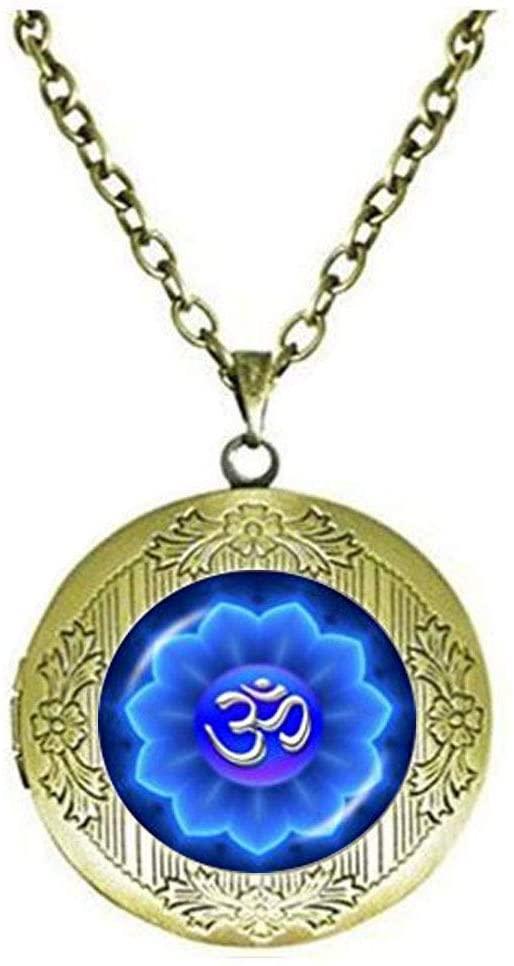 Om Locket Necklace, for Women Yoga bijoux Namaste Locket Necklace Mandala Jewelry