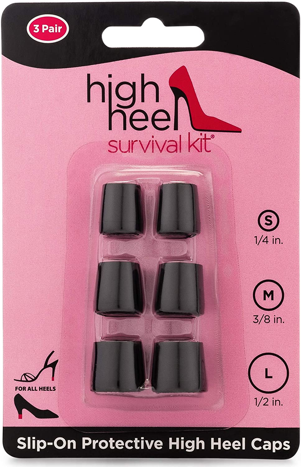High Heel Survival Kit | Heel Caps for Everyday Use | 3 Sizes Included